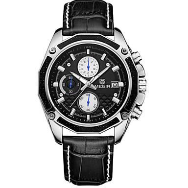 Недорогие Часы на кожаном ремешке-MEGIR Муж. Спортивные часы Нарядные часы Наручные часы Кварцевый На каждый день Календарь Аналоговый Белый Черный / Кожа / Секундомер