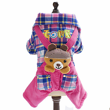 povoljno Odjeća za psa i dodaci-Pas Jumpsuits Zima Odjeća za psa Plava Pink Kostim Flis Pamuk Plaid / Check Životinja Uglađeni Moda S M L XL XXL