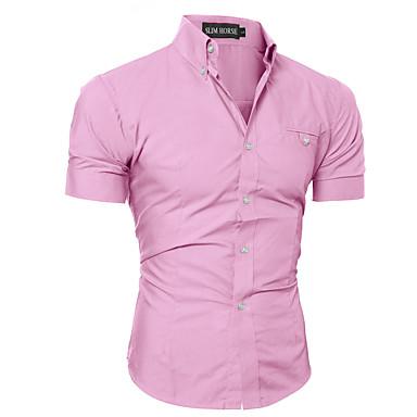 رخيصةأون قمصان رجالي-رجالي أساسي قميص, لون سادة ياقة مع زر سفلي نحيل / كم قصير / الصيف