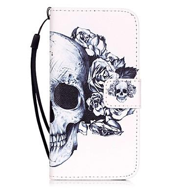 رخيصةأون أغطية أيفون 5s5-غطاء من أجل Apple iPhone X / iPhone 8 Plus / iPhone 8 حامل البطاقات / نموذج غطاء كامل للجسم جماجم قاسي جلد PU