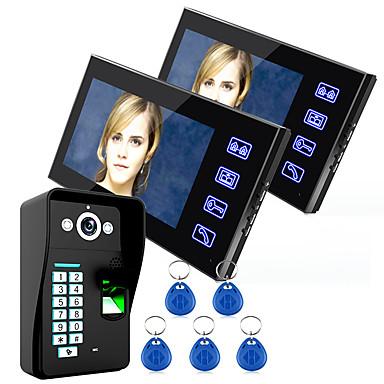 olcso Beléptető rendszerek-Ennio érintőbillentyű 7 lcd ujjlenyomat videó kaputelefon kaputelefon Wth ujjlenyomat hozzáférés-szabályozás 1 kamera 2 monitor