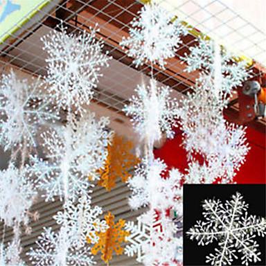 30pcs عيد الميلاد رقائق الثلج الأبيض ندفة الثلج الحلي عطلة عيد الميلاد شجرة decortion المهرجان الحزب