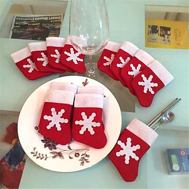 povoljno Dekoracija doma-12pcs božićne čarape božićne snježne pahuljice čarape posuđe postavlja božićni nož i torbe vrećice