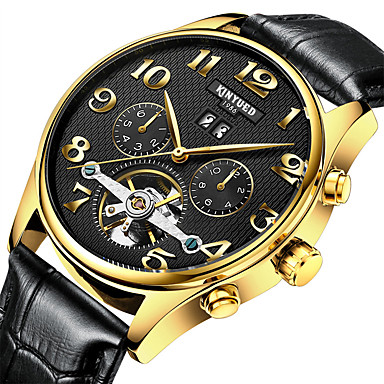 cheap Leather band Watches-Men's Dress Watch Skeleton Watch Wrist Watch Automatic self-winding Casual Water Resistant / Waterproof Analog White Black / Leather / Calendar / date / day / Chronograph