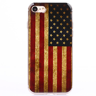 voordelige iPhone 5 hoesjes-hoesje Voor Apple iPhone 8 Plus / iPhone 8 / iPhone 7 Plus Transparant / Patroon Achterkant Vlag / Cartoon Zacht TPU
