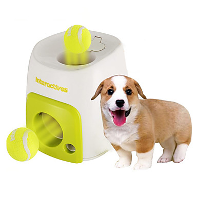baratos Brinquedos para Cães-Bola Brinquedos para roer Interativo Bola de Tenis Lançadores de Bolinhas Brinquedo Para Cachorro Animais de Estimação Brinquedos 1pç Alimentador Automático Bola de Tenis Plástico Dom