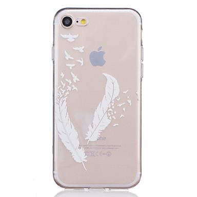Недорогие Кейсы для iPhone 7-Кейс для Назначение Apple iPhone X / iPhone 8 Pluss / iPhone 8 Прозрачный / Рельефный / С узором Кейс на заднюю панель Перья Мягкий ТПУ
