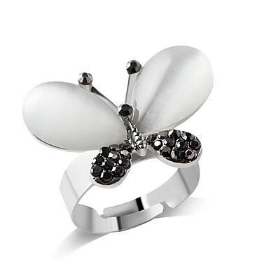 olcso Divat gyűrűk-Női Lány Band Ring Ezüst Hamis gyémánt Ötvözet Személyre szabott Divat Parti Napi Ékszerek Pillangó Állat