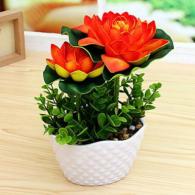 olcso Office Decor-Művirágok 1 Ág minimalista stílusú Lótusz Asztali virág