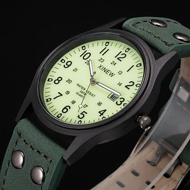 Недорогие Часы на кожаном ремешке-Муж. Спортивные часы Модные часы Армейские часы Кварцевый На каждый день Защита от влаги Аналоговый Зеленый / Кожа / Календарь / Фосфоресцирующий