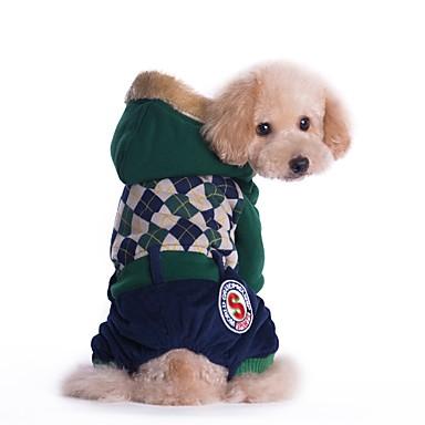 povoljno Odjeća za psa i dodaci-Mačka Pas Kaputi Jumpsuits Zima Odjeća za psa Zelen Crvena Kostim Velvet Pamuk Uglađeni Ležerno / za svaki dan Ugrijati Moda S M L XL XXL