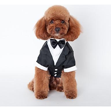 povoljno Odjeća za psa i dodaci-Pas Kostimi Kaputi Izgledi Zima Odjeća za psa Crn Kostim Haski Labrador aljaški malamut Pamuk Uglađeni Vjenčanje S M L XL XXL