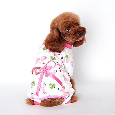 رخيصةأون ملابس وإكسسوارات الكلاب-قط كلب حللا منامة الشتاء ملابس الكلاب أصفر أزرق زهري كوستيوم قطن كارتون كاجوال / يومي S M L XL XXL
