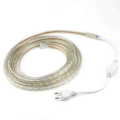 رخيصةأون شرائط ضوء مرنة LED-4 متر / 1 قطعة 220 فولت 5050 بقيادة مرنة الشريط حبل قطاع الخفيفة عيد الميلاد للماء حديقة الإضاءة في الهواء الطلق الاتحاد الأوروبي التوصيل