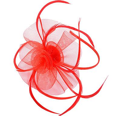ieftine Bijuterii de Păr-Pentru femei Fascinators Pentru Nuntă Petrecere Ocazie specială Pană Material Textil Rosu Roz Verde