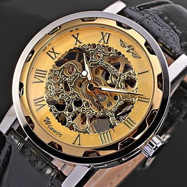 رخيصةأون ساعات الرجال-WINNER رجالي ساعة الهيكل ساعة المعصم ووتش الميكانيكية Swiss داخل الساعة ميكانيكي يدوي ستايل كلاسيكي جلد اصطناعي أسود نقش جوفاء كوول مماثل ذهبي أزرق / أبيض أسود وأزرق