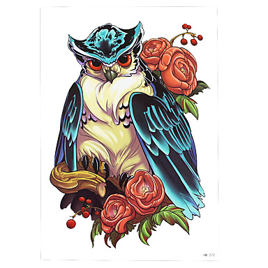 1pc colored drawing owl rose flower tattoo design temporary women