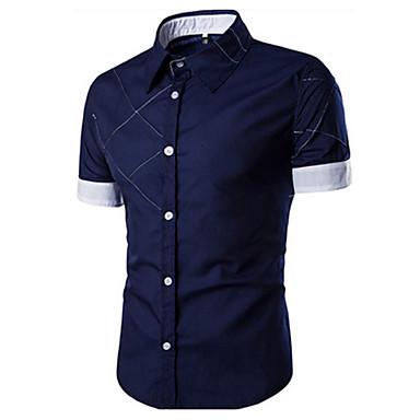 رخيصةأون قمصان رجالي-رجالي كاجوال قميص, لون سادة ياقة كلاسيكية / كم قصير / الصيف