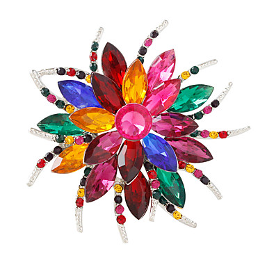 povoljno Broševi-Žene Kristal Broševi Cvijet Personalized Moda Šarene Broš Jewelry White / White Izabrane Boja Silver / Gray Za Party Dnevno