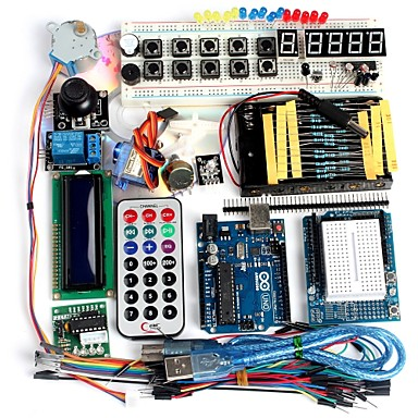 voordelige Arduino-accessoires-funduino geavanceerde starter kit lcd servomotor dot matrix broodplank geleid basiselement pak compatibel voor Arduino
