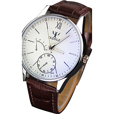 17501180762 YAZOLE Homens Relógio de Pulso Quartzo Couro PU Acolchoado Preta   Marrom  Venda imperdível Legal   Analógico Casual - Preto Marron de 5267107 2019  por € ...