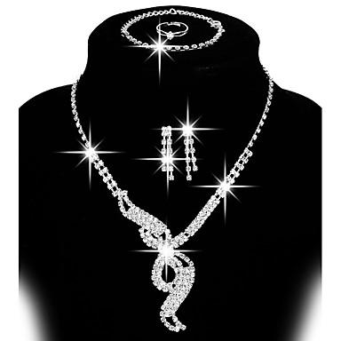 povoljno Komplet nakita-Žene Komplet nakita Sitne naušnice Viseće naušnice dame Alke / lanac Prilagodljivo Moda Elegantno Vjenčan Umjetno drago kamenje Glina Naušnice Jewelry Srebro / Srebro 2 Za Vjenčanje Party Dar Dnevno