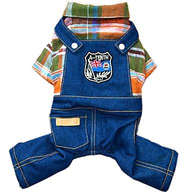 رخيصةأون ملابس وإكسسوارات الكلاب-كلب حللا جواكيت جينز الشتاء ملابس الكلاب برتقالي وردي كوستيوم قطن جينزات ريفي موضة XS S M L XL