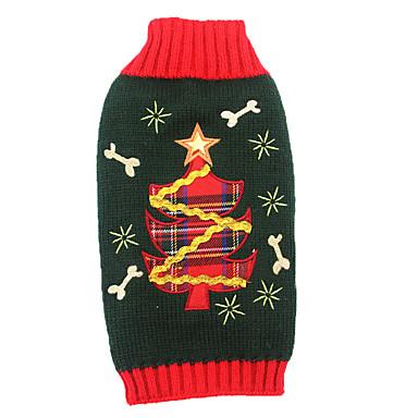 رخيصةأون ملابس وإكسسوارات الكلاب-قط كلب البلوزات ملابس الشتاء ملابس الكلاب أسود كوستيوم الاكريليك وألياف الأزهار النباتية عطلة عيد الميلاد XS S M L XL