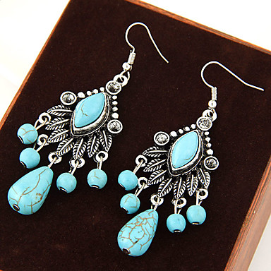 Women's Turquoise Drop Earrings Hanging Earrings Leaf Statement Vintage European Festival / Holiday Turquoise Earrings Jewelry Blue For Party Daily Casual