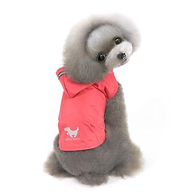 رخيصةأون ملابس وإكسسوارات الكلاب-كلب هوديس معطف المطر الشتاء ملابس الكلاب أصفر أحمر أزرق كوستيوم طفل كلب صغير نايلون لون سادة مقاومة الماء ضد الرياح S M L XL XXL