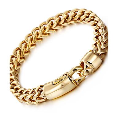 ieftine Brățări-Bărbați Brățări cu Lanț & Legături Lantul de grâu Baht Chain Lux Modă Hip-Hop Hip Hop 18K Placat cu Aur Bijuterii brățară Auriu / Argintiu Pentru Petrecere Cadou Zilnic Casual Stradă / Teak