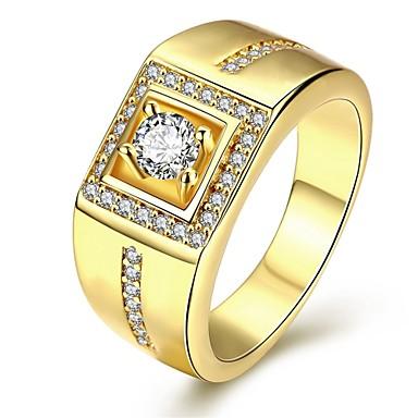ieftine Inele-Bărbați Inel Inel sigiliu Zirconiu Cubic Auriu Argintiu Trandafiriu Zirconiu Cubic Articole de ceramică Argilă Geometric Shape Personalizat Lux Cadouri de Crăciun Nuntă Bijuterii Solitaire Rundă HALO