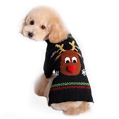 رخيصةأون ملابس وإكسسوارات الكلاب-قط كلب البلوزات الشتاء ملابس الكلاب أسود كوستيوم قطن الرنة عطلة عيد الميلاد XS S M L XL XXL
