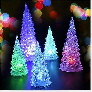 abordables Decoración del Hogar-Mini árbol de navidad christmas 2pcs llevó luz de noche de luz de colores (color al azar)