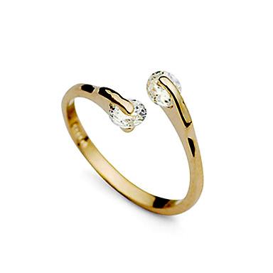 Pentru femei Band Ring inel de înfășurare degetul mare Diamant sintetic Auriu Zirconiu Zirconiu Cubic Diamante Artificiale femei Neobijnuit Design Unic Nuntă Petrecere Bijuterii două pietre / Aliaj
