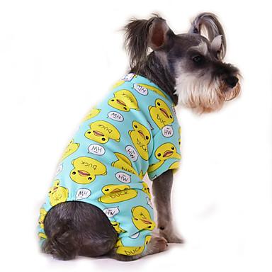 رخيصةأون ملابس وإكسسوارات الكلاب-قط كلب حللا منامة الشتاء ملابس الكلاب أصفر أزرق أبيض أصفر كوستيوم قطن كارتون كاجوال / يومي XS S M L XL