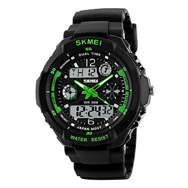 cheap Sport Watches-SKMEI Men's Sport Watch Military Watch Wrist Watch Quartz Rubber Black 30 m Water Resistant / Waterproof Alarm Calendar / date / day Analog - Digital Black / Green Black / Blue Black / Yellow Two