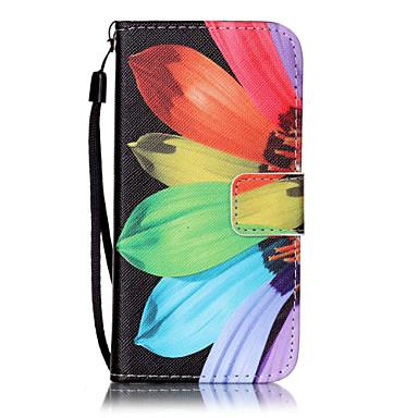 Недорогие Кейсы для iPhone 7-Кейс для Назначение Apple iPhone 7 Plus / iPhone 7 / iPhone 6s Plus Кошелек / Бумажник для карт / со стендом Чехол Цветы Твердый Кожа PU