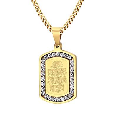 رجالي مكعب زركونيا قلائد الحلي سلسلة فرانكو موضة ملهم إيمان الفولاذ المقاوم للصدأ زركون مطلية بالذهب ذهبي قلادة مجوهرات من أجل مناسب للحفلات مناسب للبس اليومي فضفاض