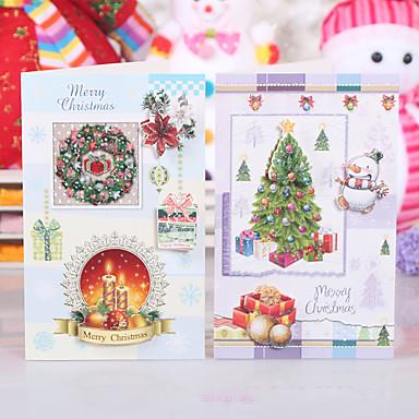 abordables Decoración del Hogar-10package patrón aleatorio navidad papel ofing regalos de la decoración del árbol de navidad adornos de tarjetas de felicitación de