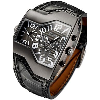 Недорогие Часы на кожаном ремешке-Муж. Наручные часы Кулоны С двумя часовыми поясами Кожа Черный / Белый / Синий Аналоговый - Белый Черный Красный Два года Срок службы батареи