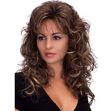 Synthetic Wig Women S Body Wave Dark Brown With Bangs Synthetic Hair