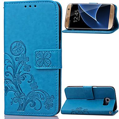 Недорогие Чехлы и кейсы для Galaxy S3 Mini-Кейс для Назначение SSamsung Galaxy S8 Plus / S8 / S7 edge Кошелек / Бумажник для карт / со стендом Чехол Цветы Кожа PU