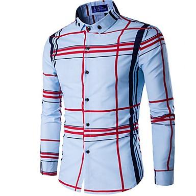 رخيصةأون قمصان رجالي-رجالي عمل الأعمال التجارية قميص, منقوش ياقة مع زر سفلي نحيل / كم طويل / الربيع / الخريف