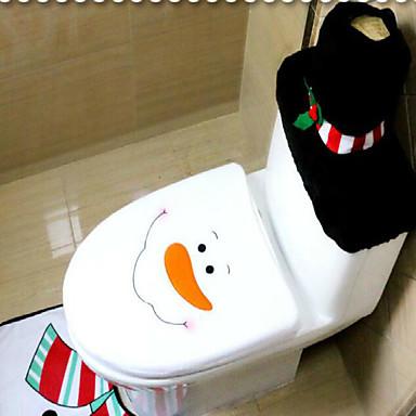 olcso Lakberendezés-3db / készlet santa dísz hóember WC-ülés fedél szőnyeg fürdőszoba szőnyeg karácsonyi karácsonyi dekoráció otthon
