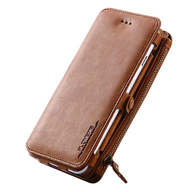 Недорогие Кейсы для iPhone 7 Plus-Кейс для Назначение Apple iPhone X / iPhone 8 Pluss / iPhone 8 Кошелек / Бумажник для карт / со стендом Чехол Однотонный Твердый Настоящая кожа