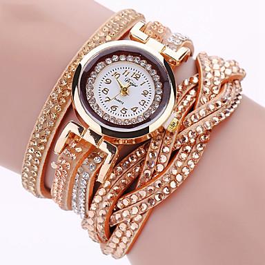 ราคาถูก นาฬิกาข้อมือ-สำหรับผู้หญิง นาฬิกาสร้อยข้อมือ นาฬิกาข้อมือ นาฬิกาเพชร นาฬิกาอิเล็กทรอนิกส์ (Quartz) ห่อ PU Leather ดำ / ฟ้า / เงิน เท่ห์ Punk เลียนแบบเพชร ระบบอนาล็อก สุภาพสตรี เสน่ห์ วิบวับ วินเทจ ไม่เป็นทางการ -