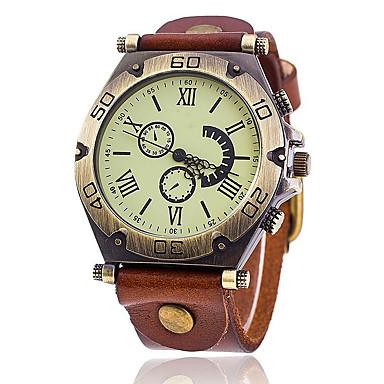 Недорогие Часы на кожаном ремешке-Муж. Наручные часы Классика Cool Аналоговый Белый Черный Красный / Один год / Кожа