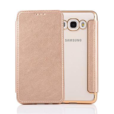 رخيصةأون حافظات / جرابات هواتف جالكسي J-غطاء من أجل Samsung Galaxy J7 (2016) / J7 / J5 (2016) قلب غطاء كامل للجسم لون سادة قاسي جلد PU