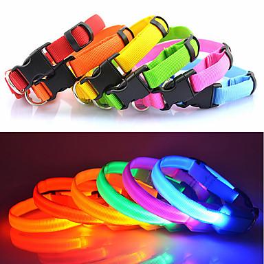 قط كلب ياقة أضواء LED قابل للسحبقابل للتعديل لون سادة نايلون أزرق زهري قوس قزح